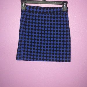 Blue and black pencil skirt